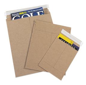 """12.75"""" x 15"""" 100 Pcs Stay Flat Brown Kraft Cardboard Mailer w// Tear Tab 28 pt"""