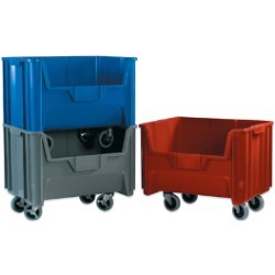 15 1/4x19 7/8x12 7/16''  Red Mobile Giant Stackable Bins 3ct