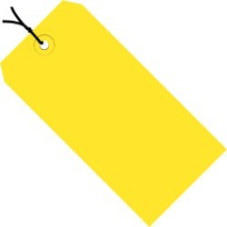 4 3/4'' x 2 3/8'' Yellow  13 Pt. Shipping Tags - Pre-Strung - case of 1000